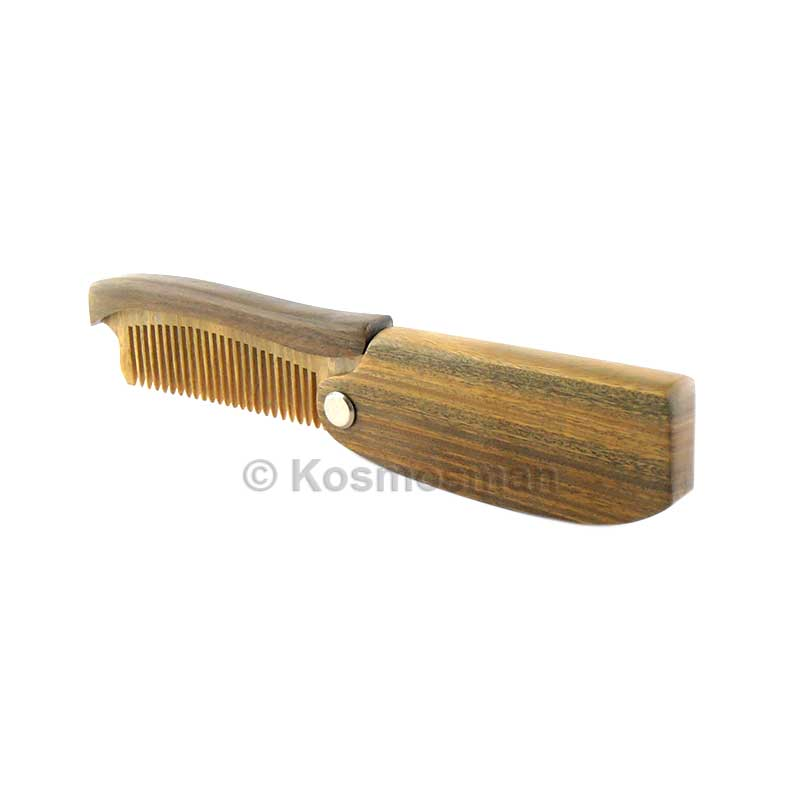 Wooden Beard & Moustache Folding Comb