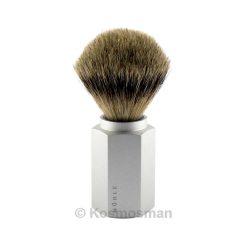Muhle HEXAGON 091MHXG Ασημί Αλουμίνιο Πινέλο Ξυρίσματος Ασβού Silvertip.